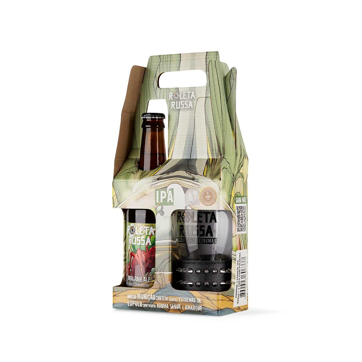 Kit presente cerveja Roleta Russa India Pale Ale IPA 355 ml + copo 320 ml com pulseira