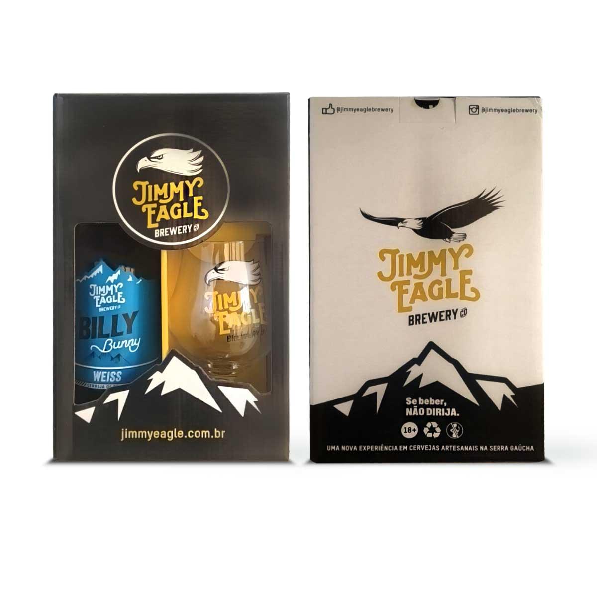 Kit presente Jimmy Eagle Weiss 500ml + copo Dublin  - RS BEER - Cervejas Gaúchas