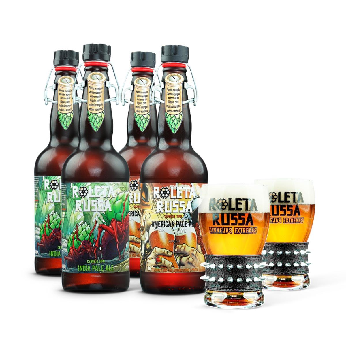 Kit presente Roleta Russa 4 cervejas 500ml + 2 copos com pulseira