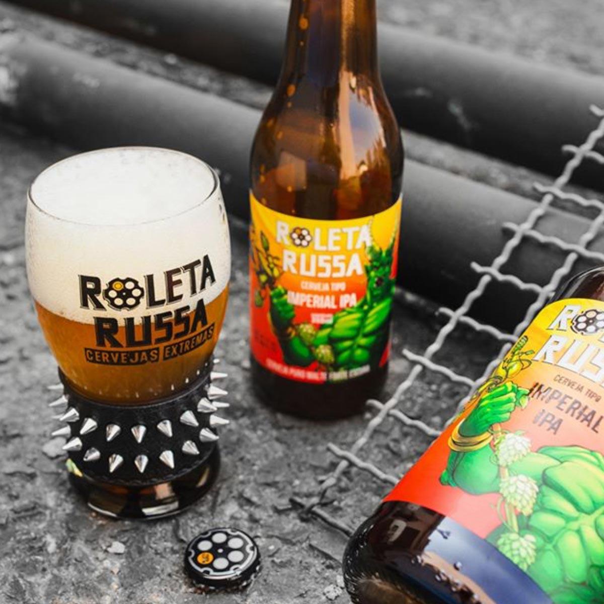 Kit Roleta Russa 6 cervejas 355 ml + copo 320 ml com pulseira