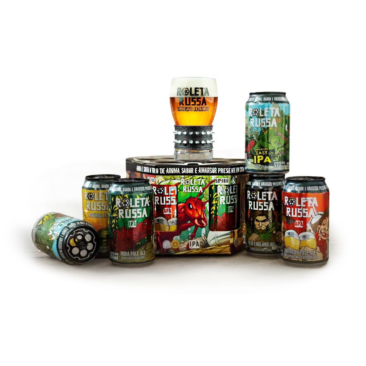 Kit Roleta Russa 6 cervejas lata 350 ml + copo 320 ml com pulseira