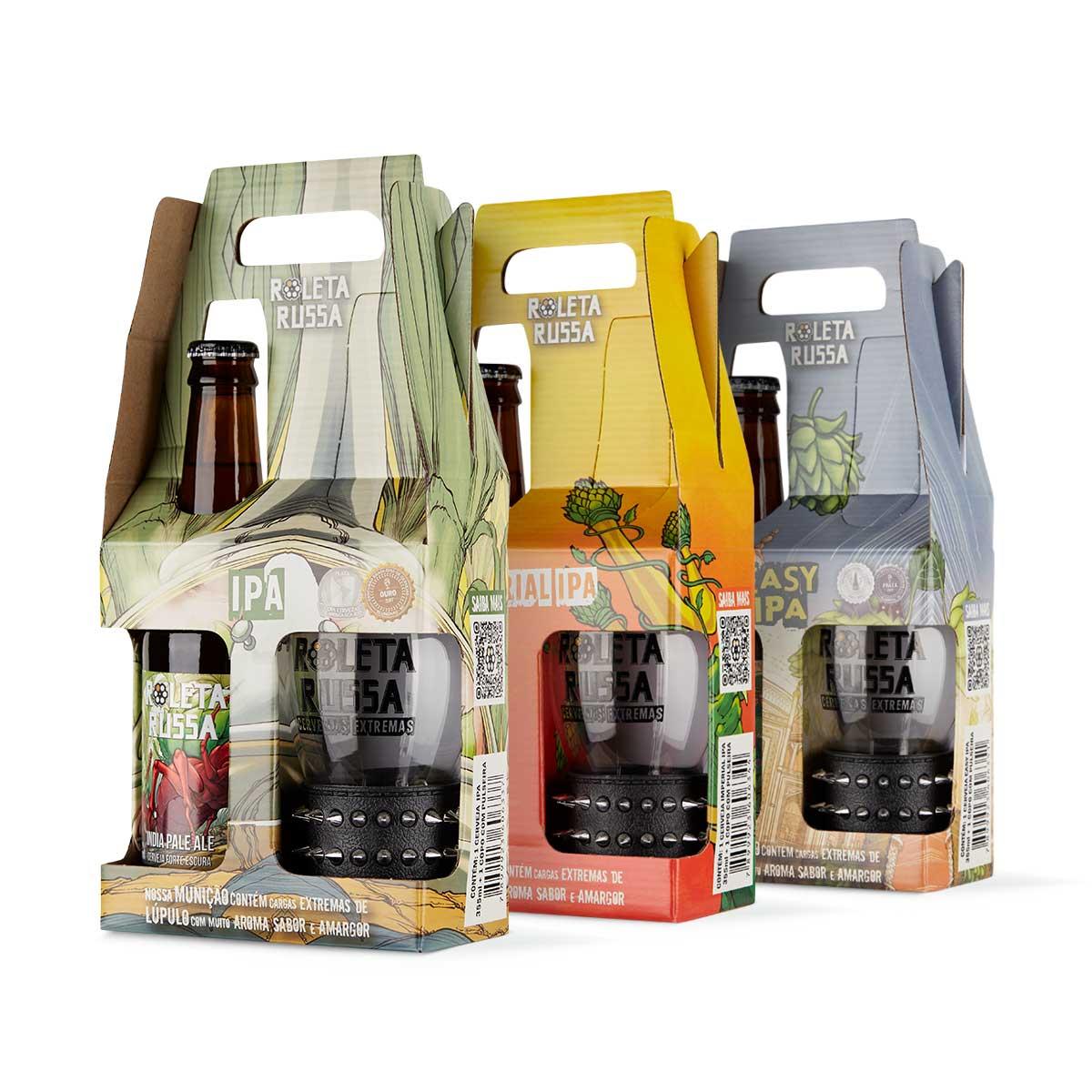 Pack 3 kit presente cerveja Roleta Russa 355 ml + copo 320 ml com pulseira