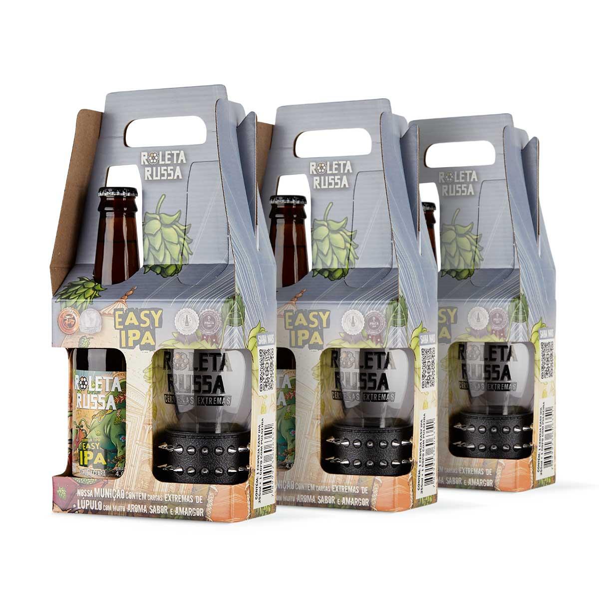 Pack 3 kit presente cerveja Roleta Russa Easy IPA 355 ml + copo 320 ml com pulseira