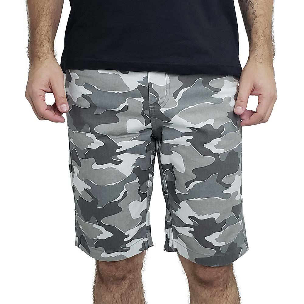 Bermuda Camuflada Masculina de Sarja Cinza Bamborra