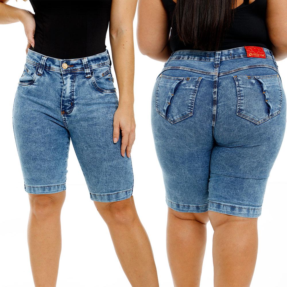 Bermuda Jeans Feminina Cintura Alta Ciclista Com Elastano