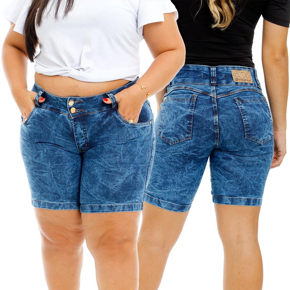 Bermuda Jeans Feminina Meia Coxa Com Elastano