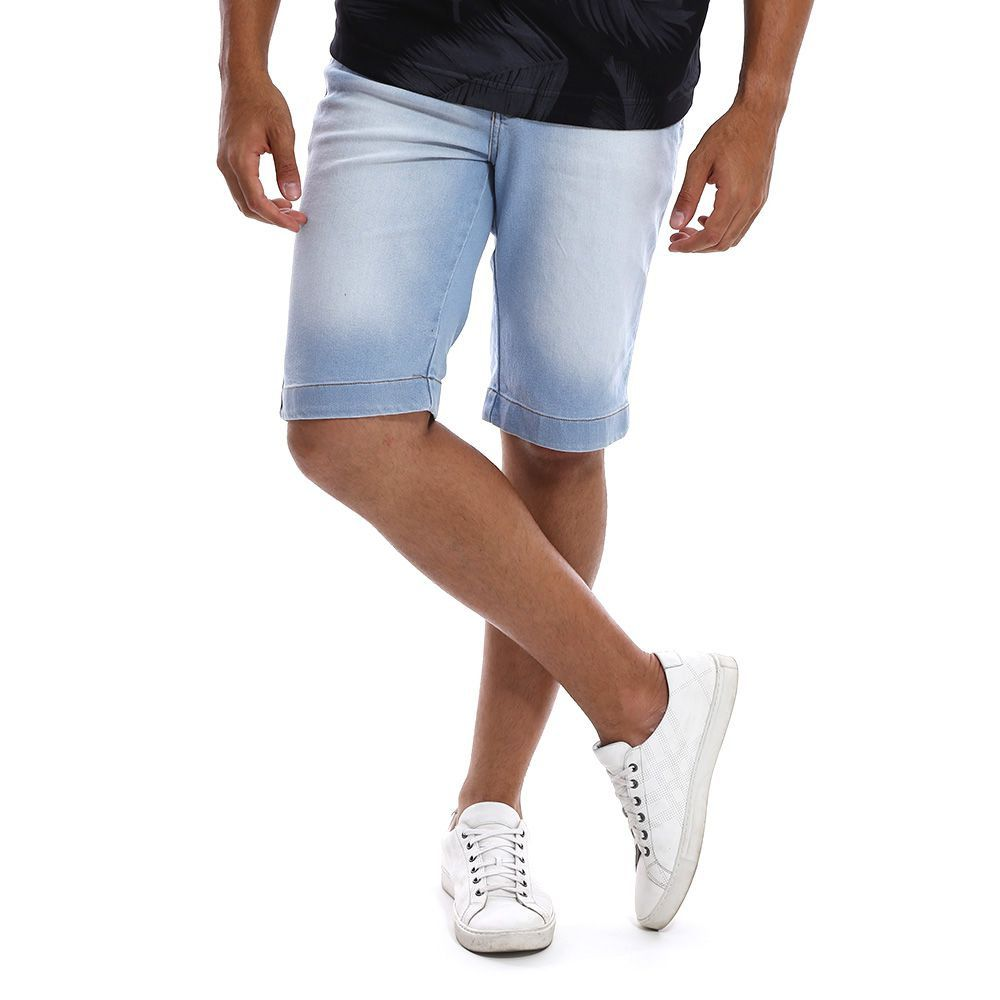 Bermuda Jeans Masculina Azul Claro Estonado Bamborra