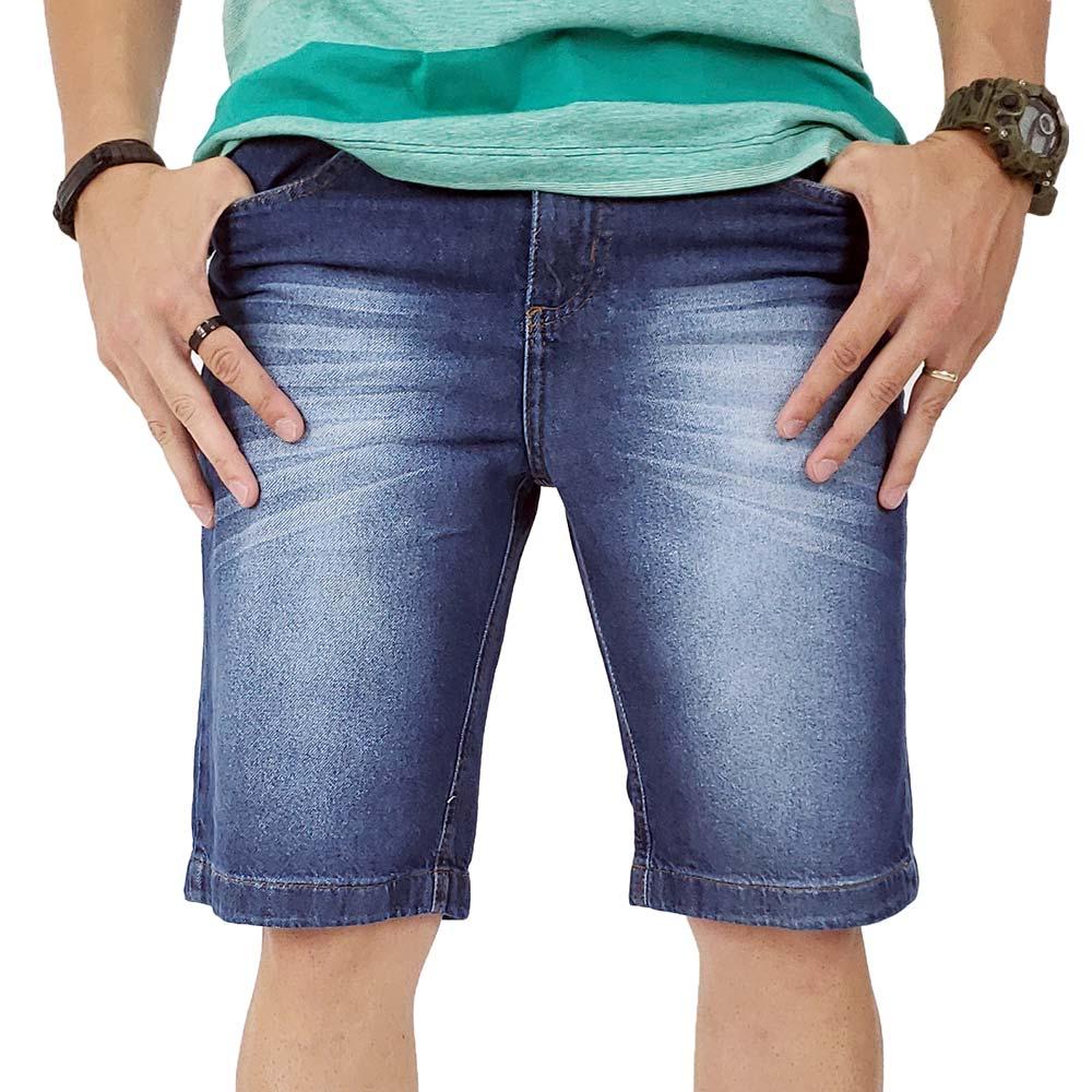 Bermuda Jeans Masculina Azul Destroyed Bamborra