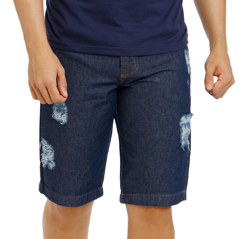 Bermuda Jeans Masculina Azul Escuro Rasgada Bamborra