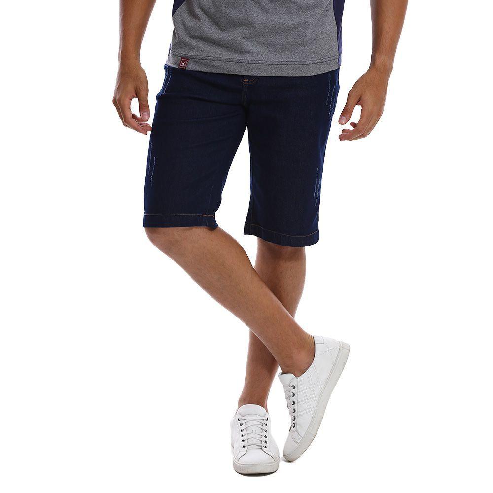 Bermuda Jeans Masculina Bamborra Azul Escuro Slim com Lycra