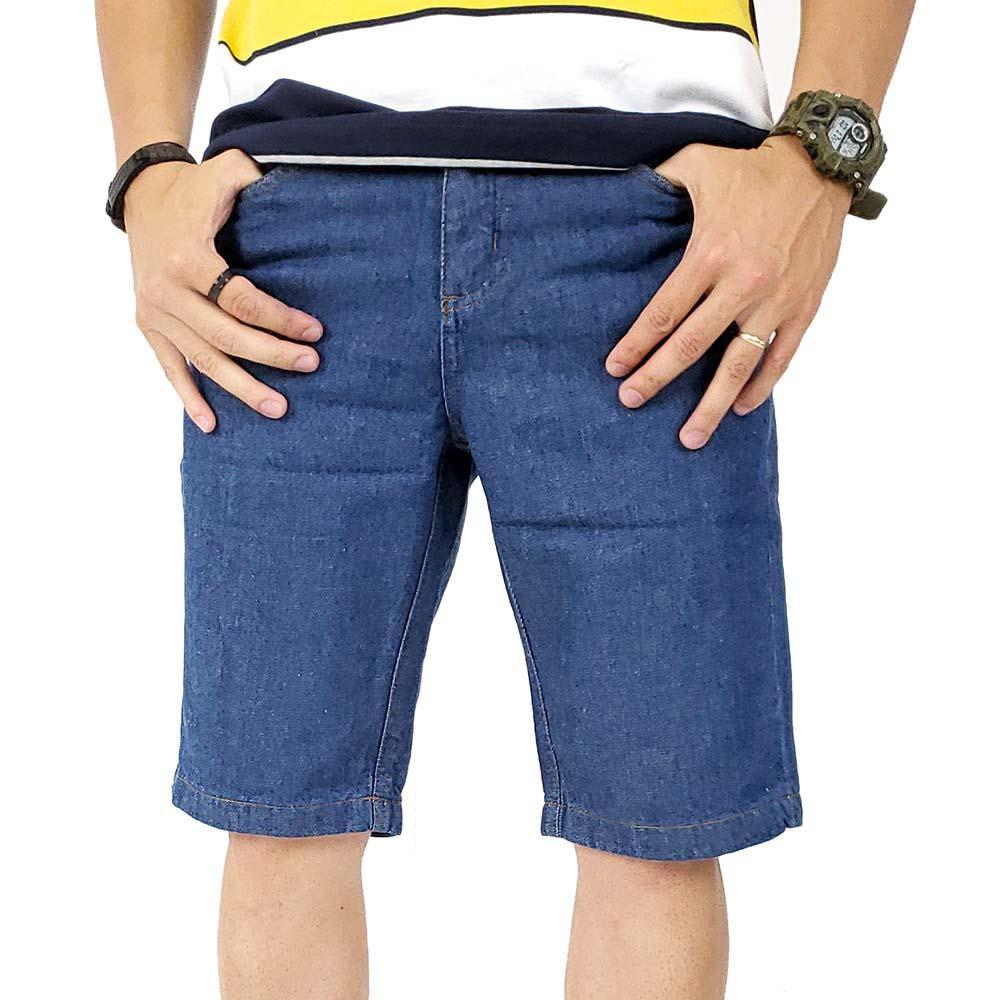 Bermuda Jeans Masculina Básica Azul Escuro Bamborra
