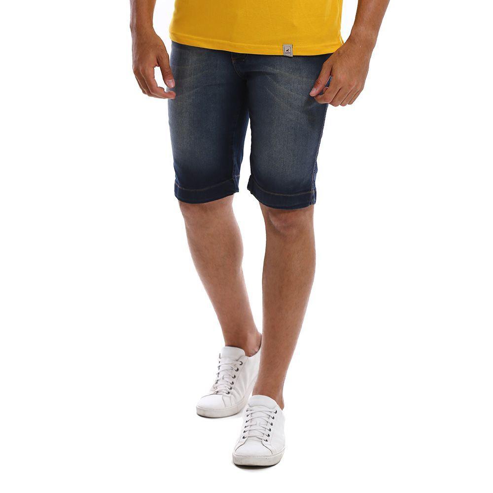 Bermuda Jeans Masculina Escura Estonada Bamborra