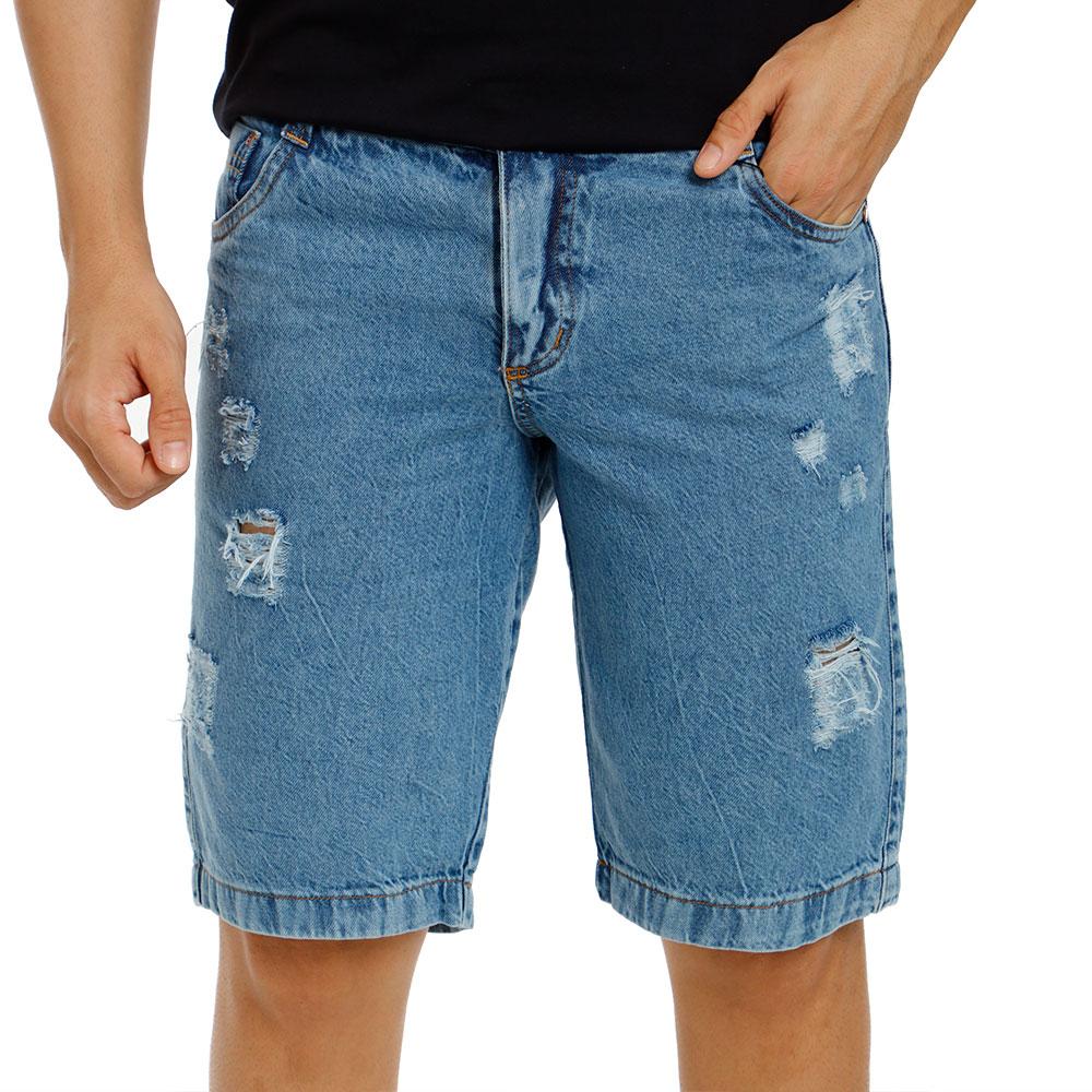 Bermuda Jeans Masculina Rasgada Azul Claro Bamborra