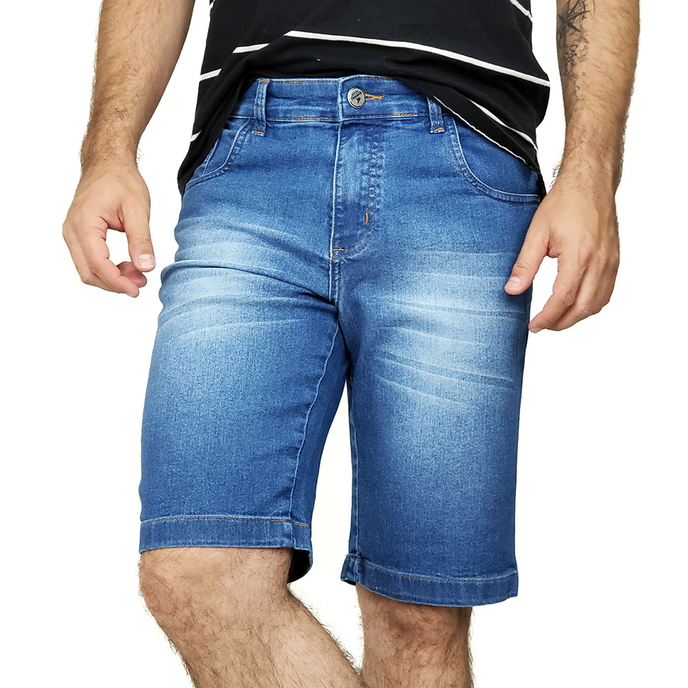 Bermuda Jeans Masculina Slim Azul Lavado Bamborra