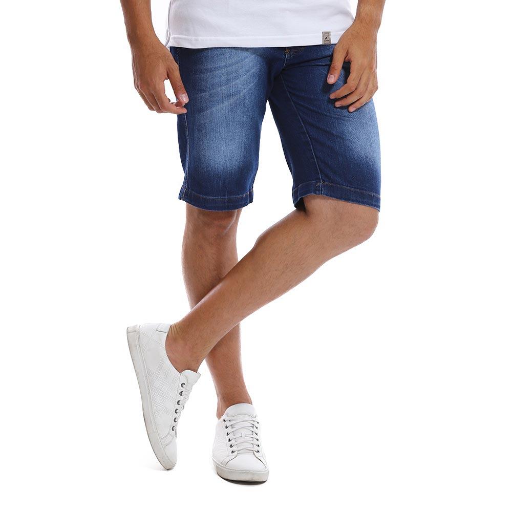 Bermuda Jeans Masculina Slim Azul Médio Bamborra