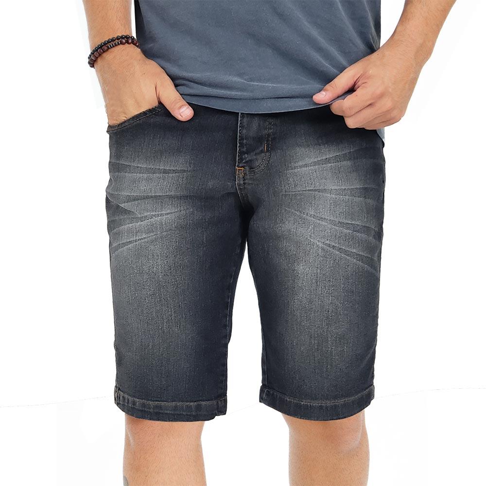 Bermuda Jeans Masculina Slim Preta Lavada Bamborra