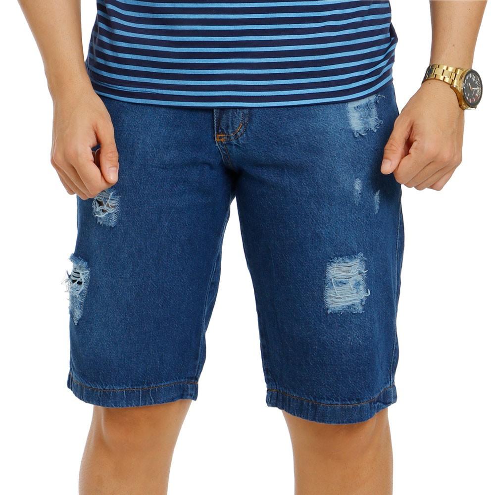 Bermuda Jeans Rasgada Masculina Azul Bamborra