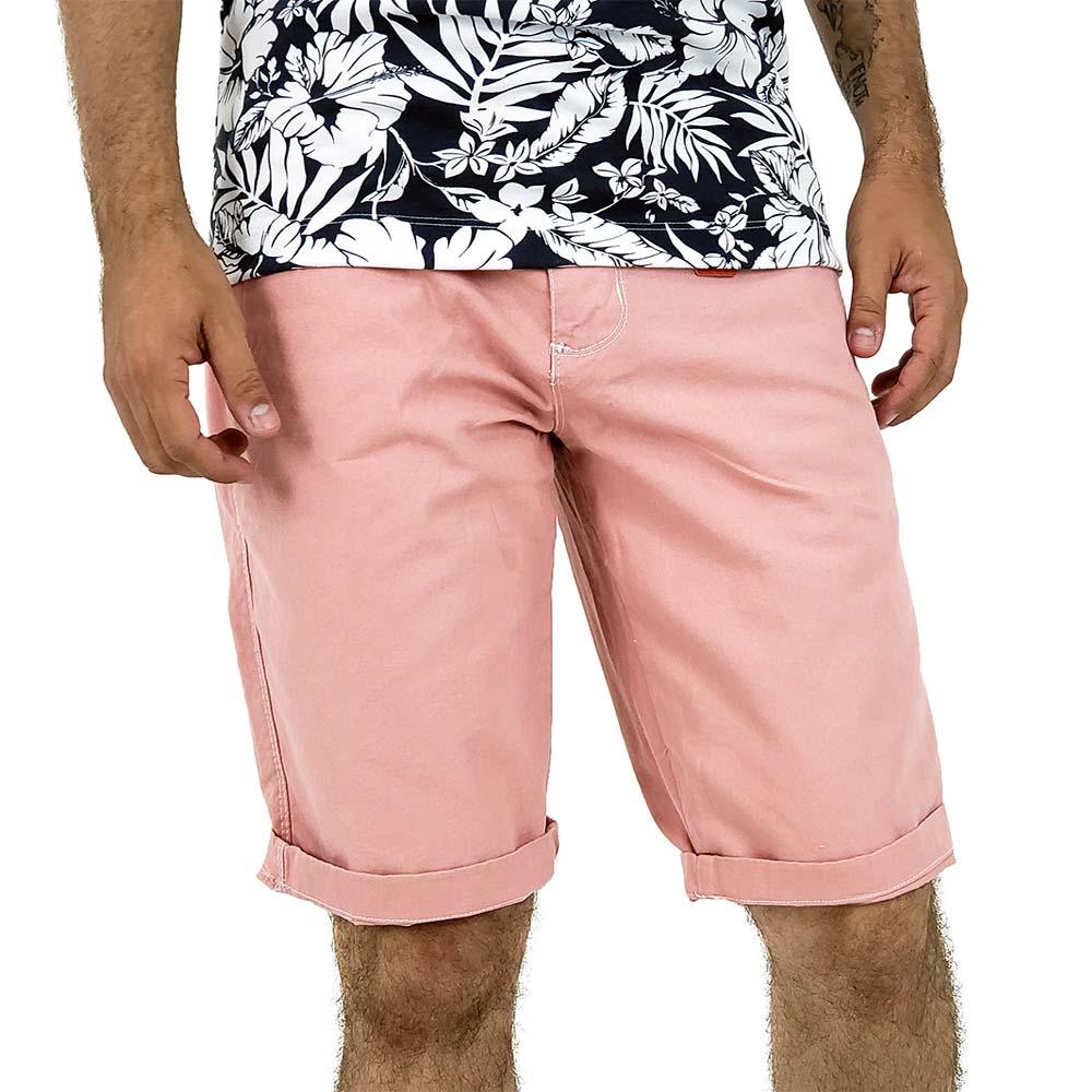Bermuda Masculina Rosa Sarja Casual Bamborra