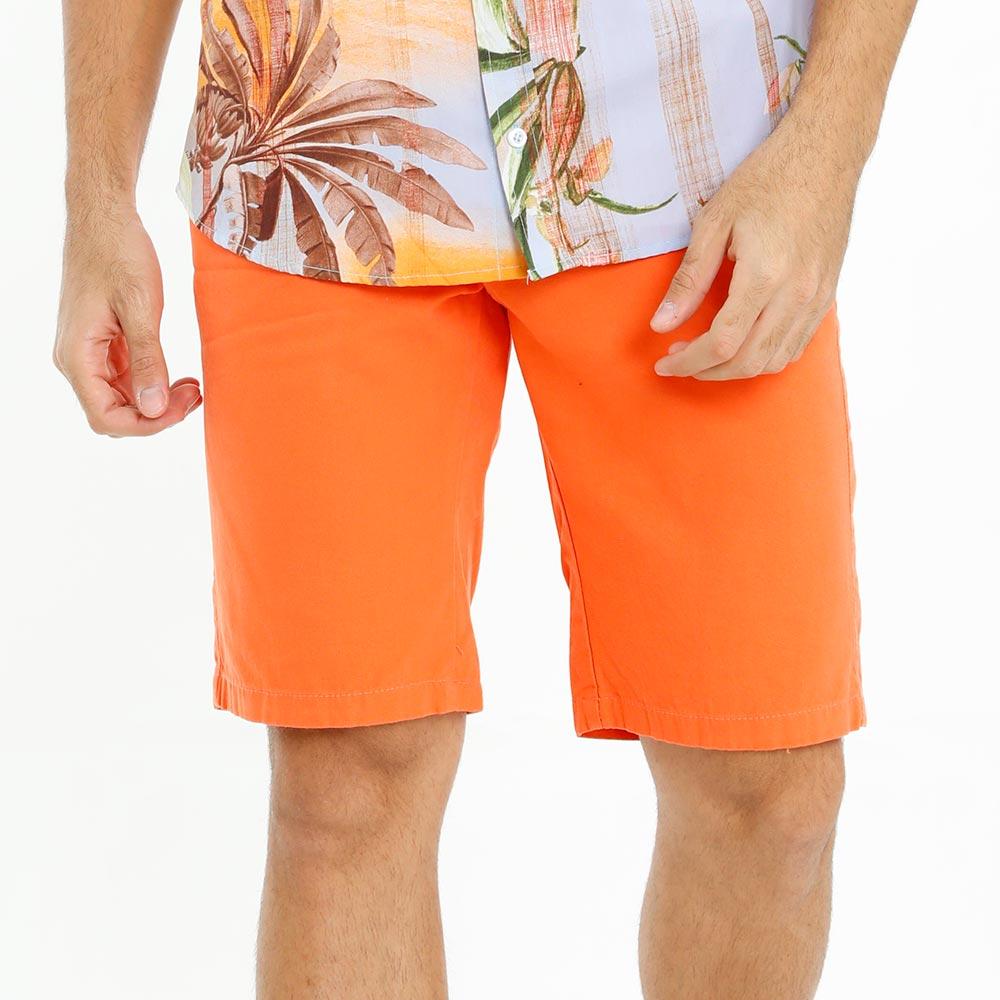 Bermuda Masculina Sarja Laranja Casual Bamborra