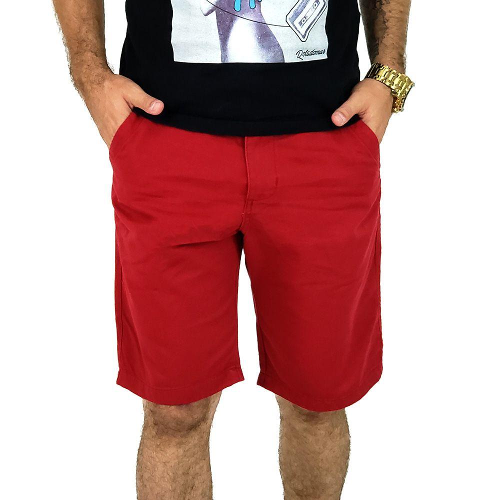 Bermuda Masculina Sarja Vermelha Casual Bamborra