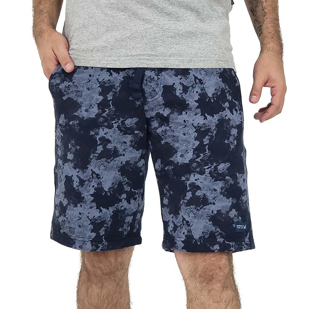 Bermuda Moletom Masculina Camuflada Urbana Azul
