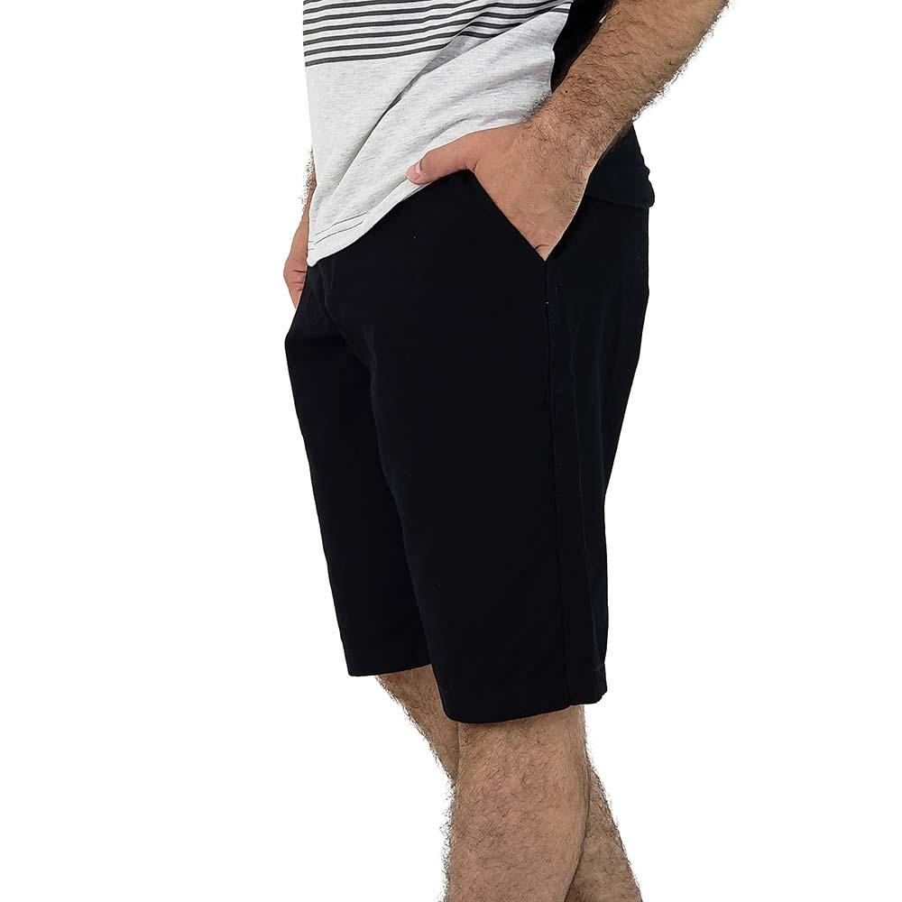 Bermuda Preta Masculina Sarja Casual Bamborra