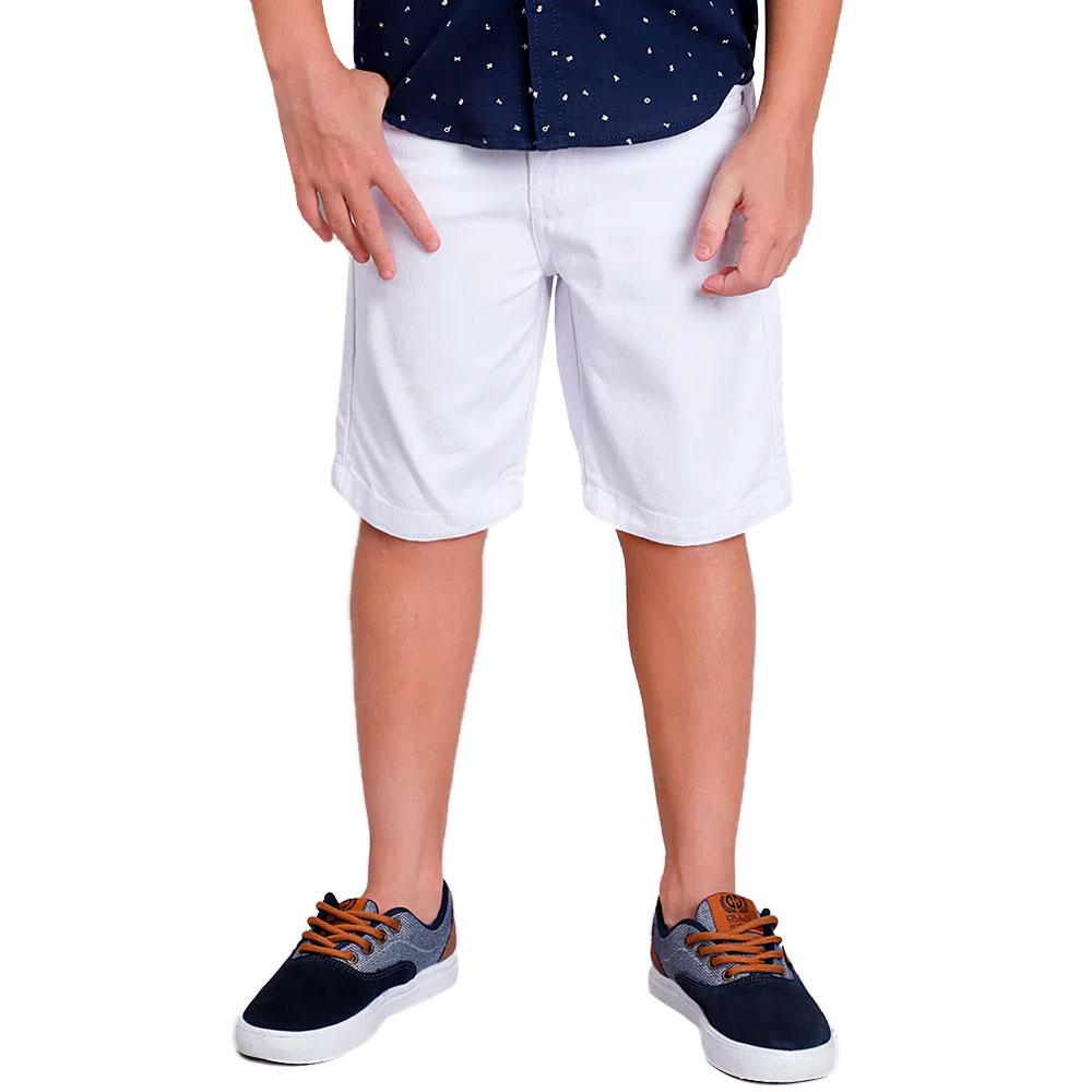 Bermuda Sarja Branca Para Meninos de 2 a 16 anos