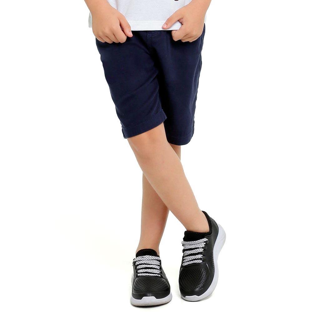 Bermuda Sarja Infantil Azul Marinho Meninos 2 a 16 anos