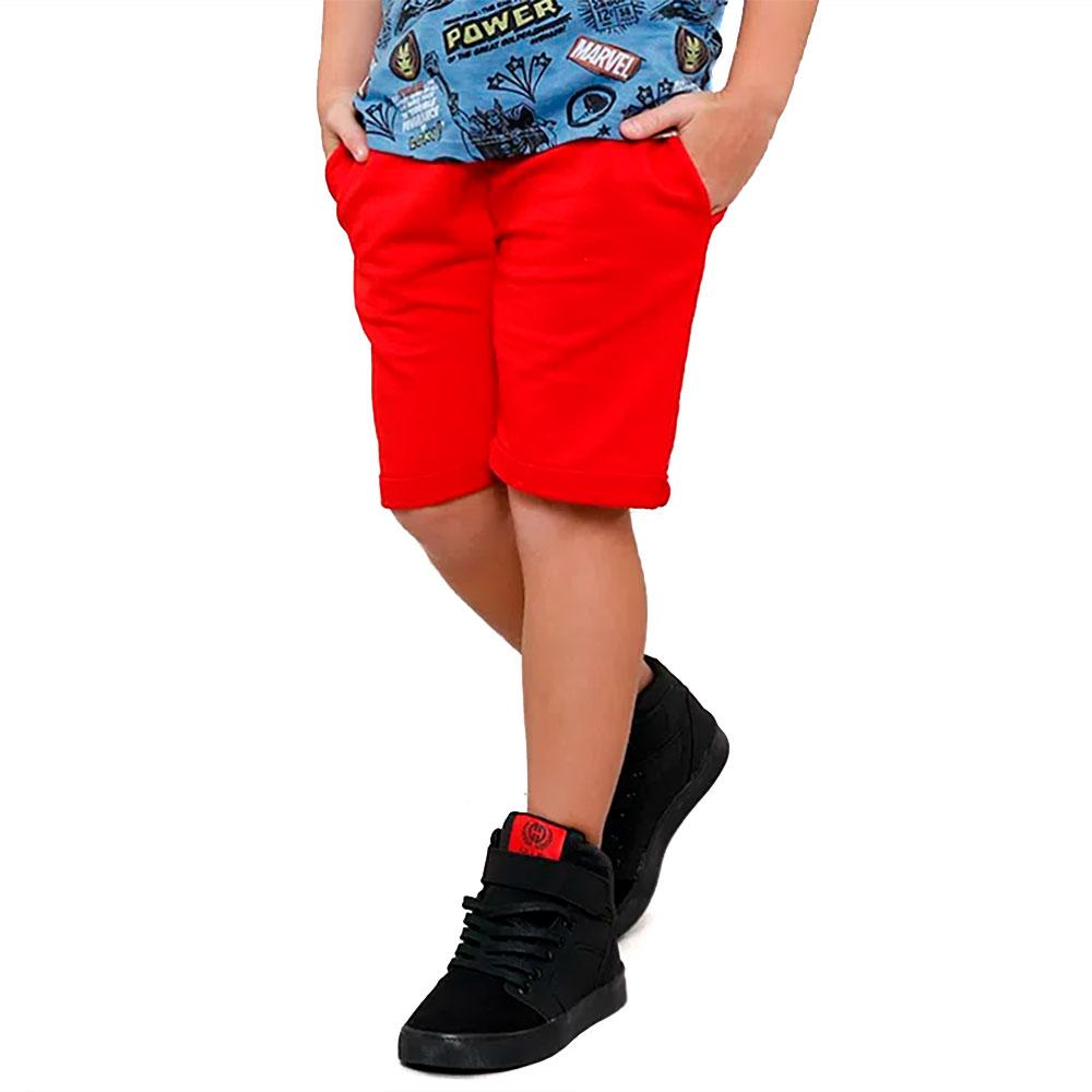 Bermuda Sarja Infantil Vermelha Para Meninos de 2 a 16 anos