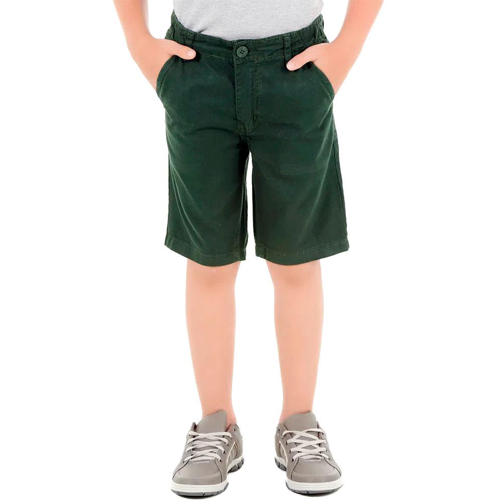 Bermuda Sarja Infantojuvenil Verde Escuro 2 a 16 anos