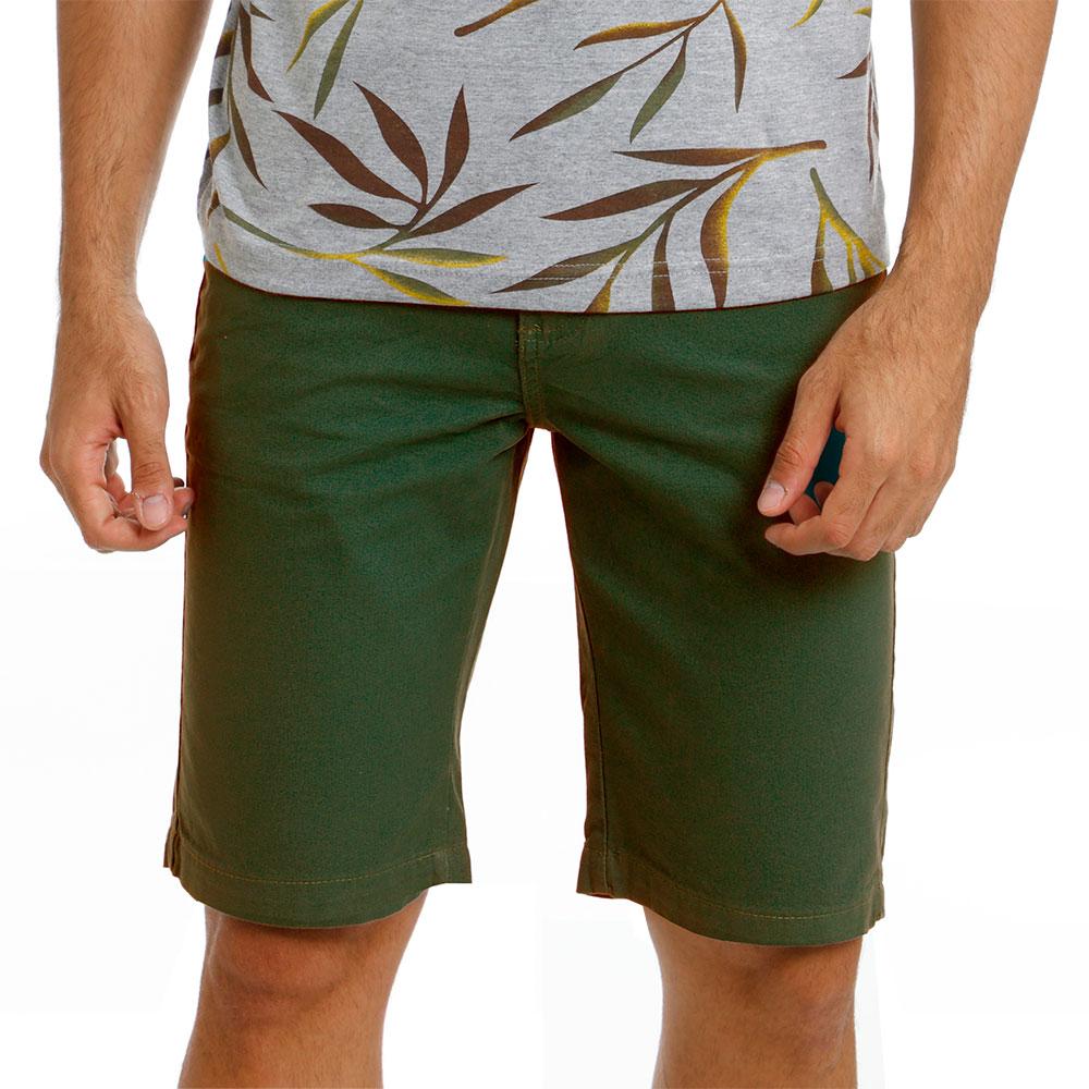 Bermuda Sarja Masculina Básica Verde Musgo Bamborra