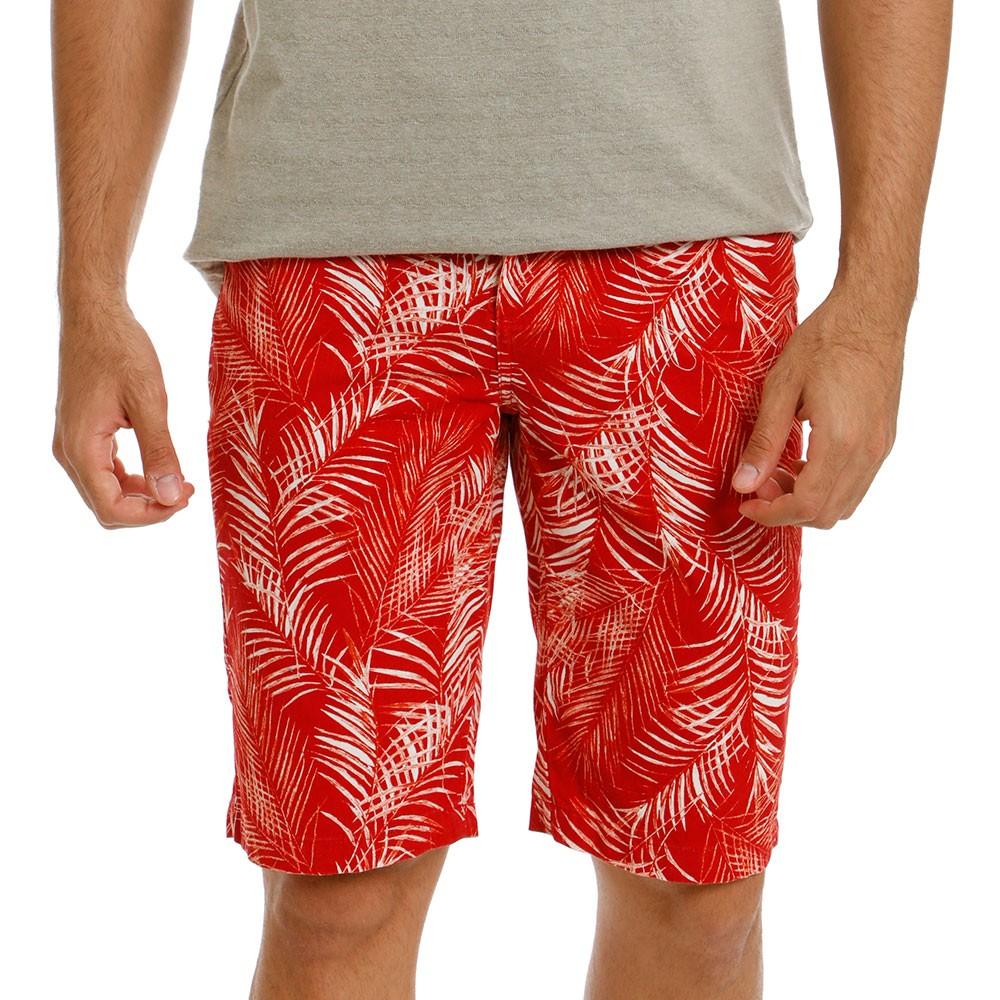Bermuda Sarja Masculina Vermelha Estampada Folhagem