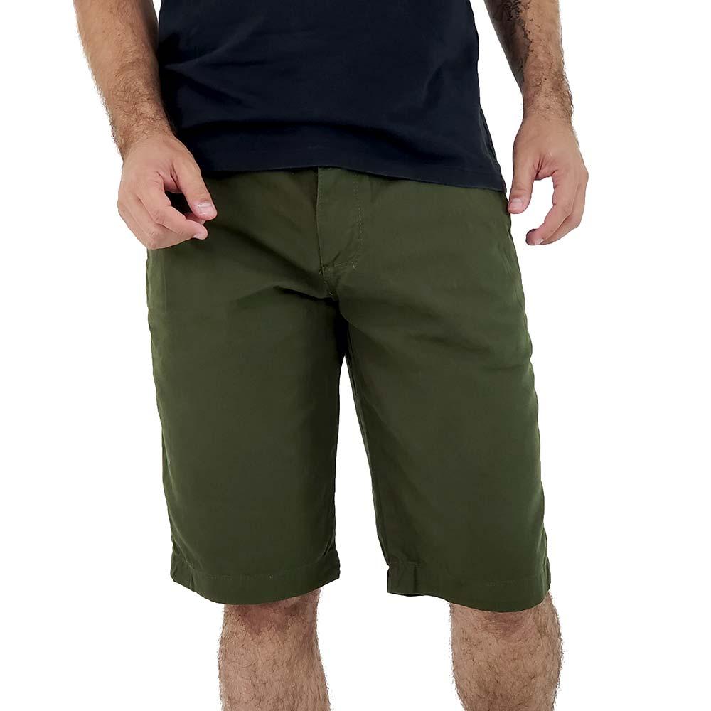 Bermuda Verde Militar Masculina de Sarja Bamborra