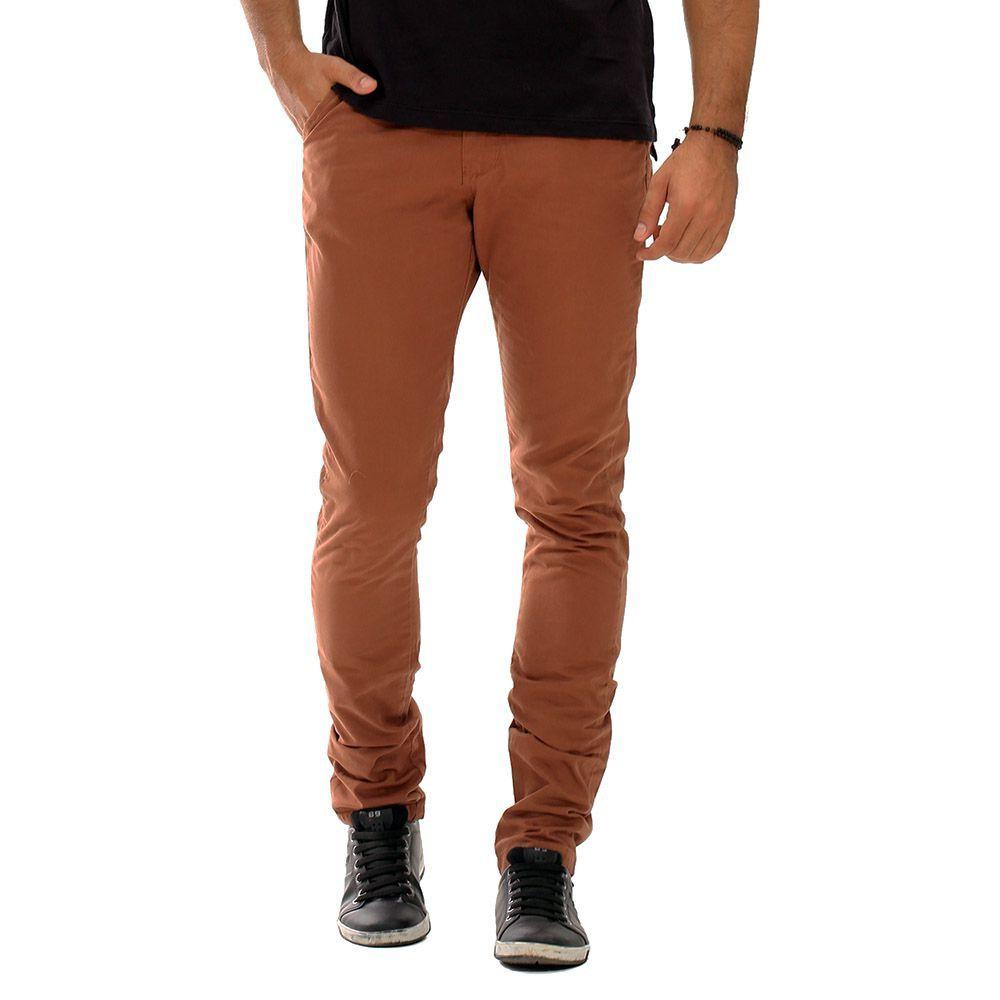 Calça Brim Masculina Casual Modelo Slim Marrom