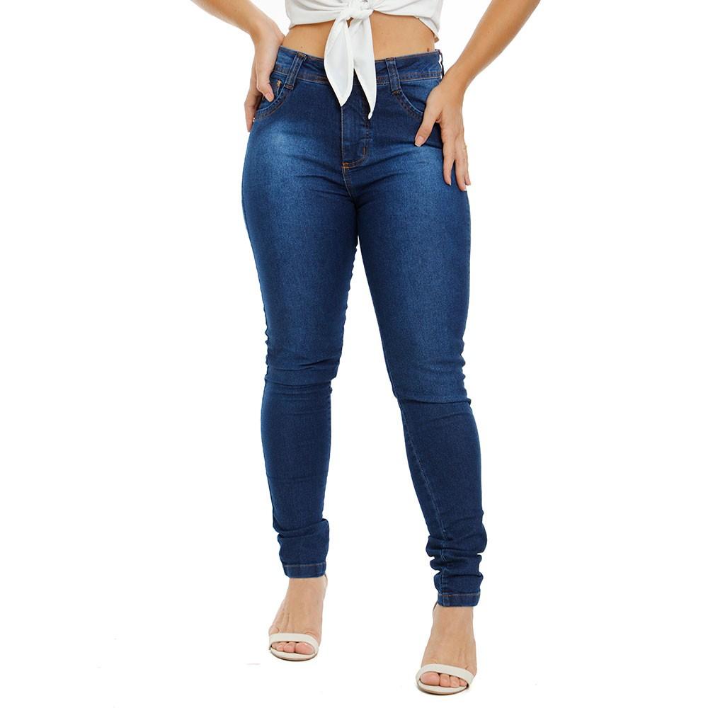 Calça Jeans Feminina Cintura Alta Skinny Com Lycra