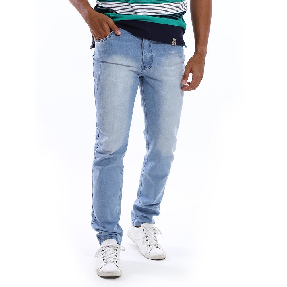 Calça Jeans Masculina Azul Claro Slim com Lycra