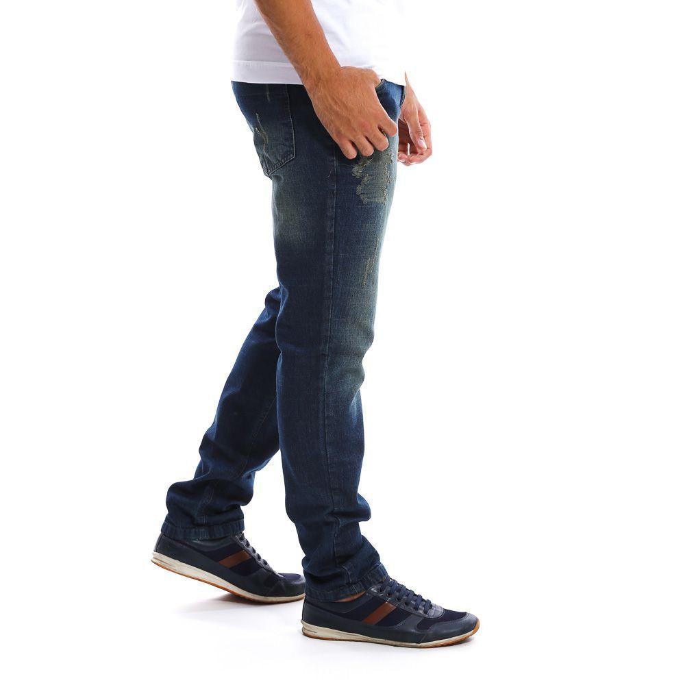 Calça Jeans Masculina Escura Barata em Promoção