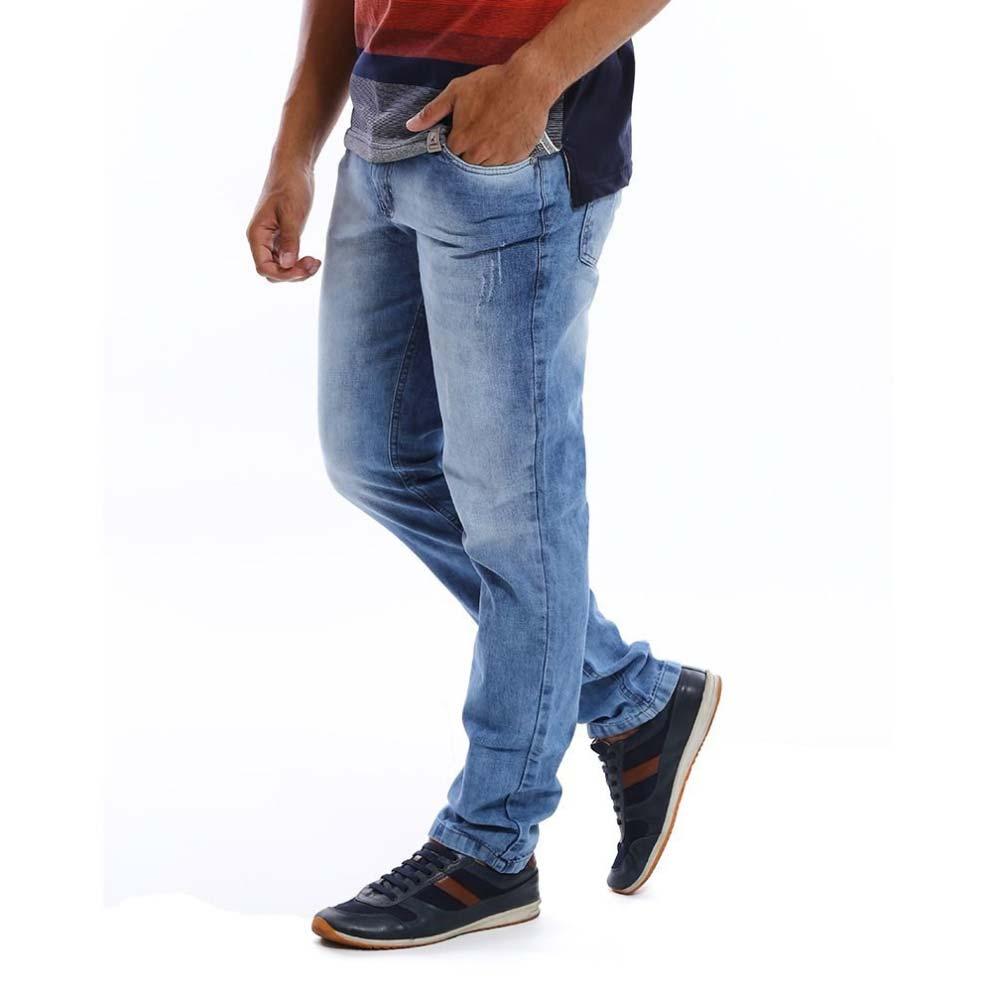 Calça Jeans Masculina Manchadinha Azul Claro Bamborra