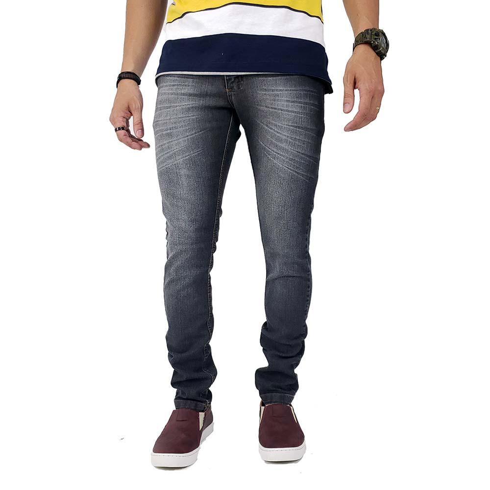 Calça Jeans Preta Lavada Masculina Slim Com Lycra Bamborra