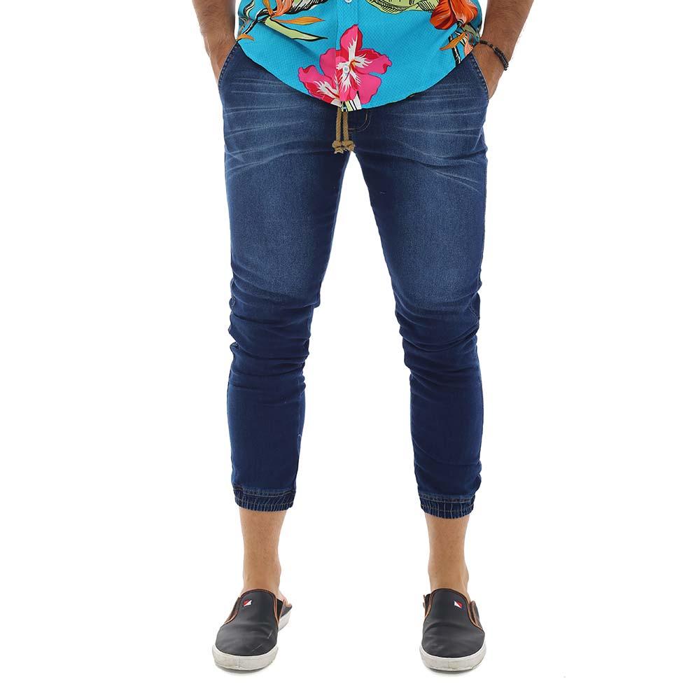Calça Jogger Masculina Jeans Slim Com Lycra