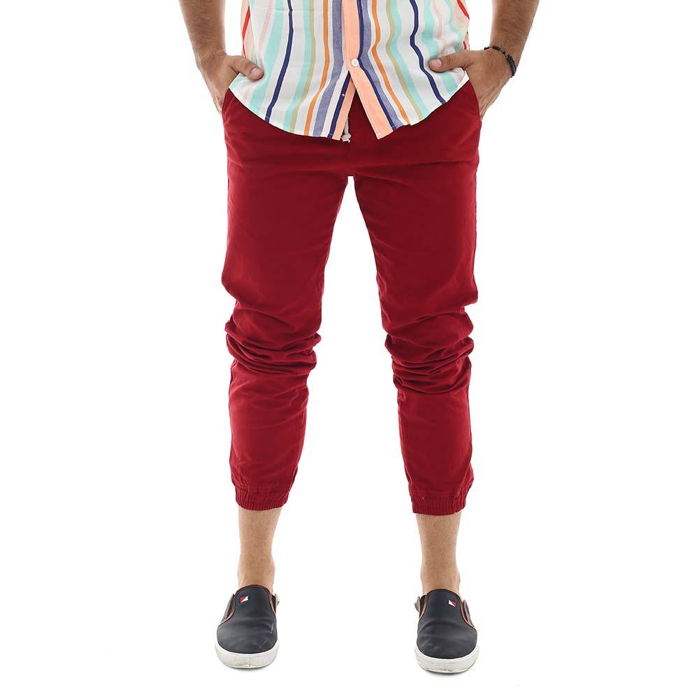Calça Jogger Masculina Sarja Com Lycra Vermelha
