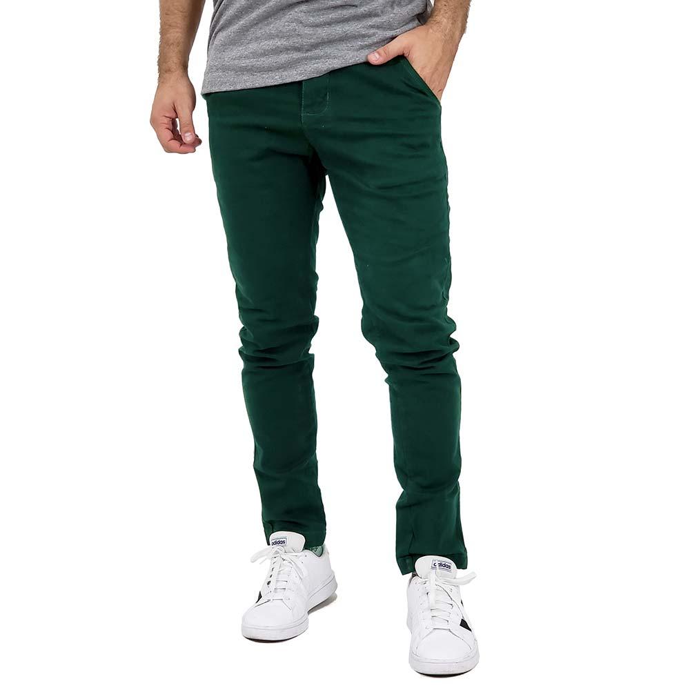 Calça Sarja Masculina Verde Escuro Slim Com Elastano