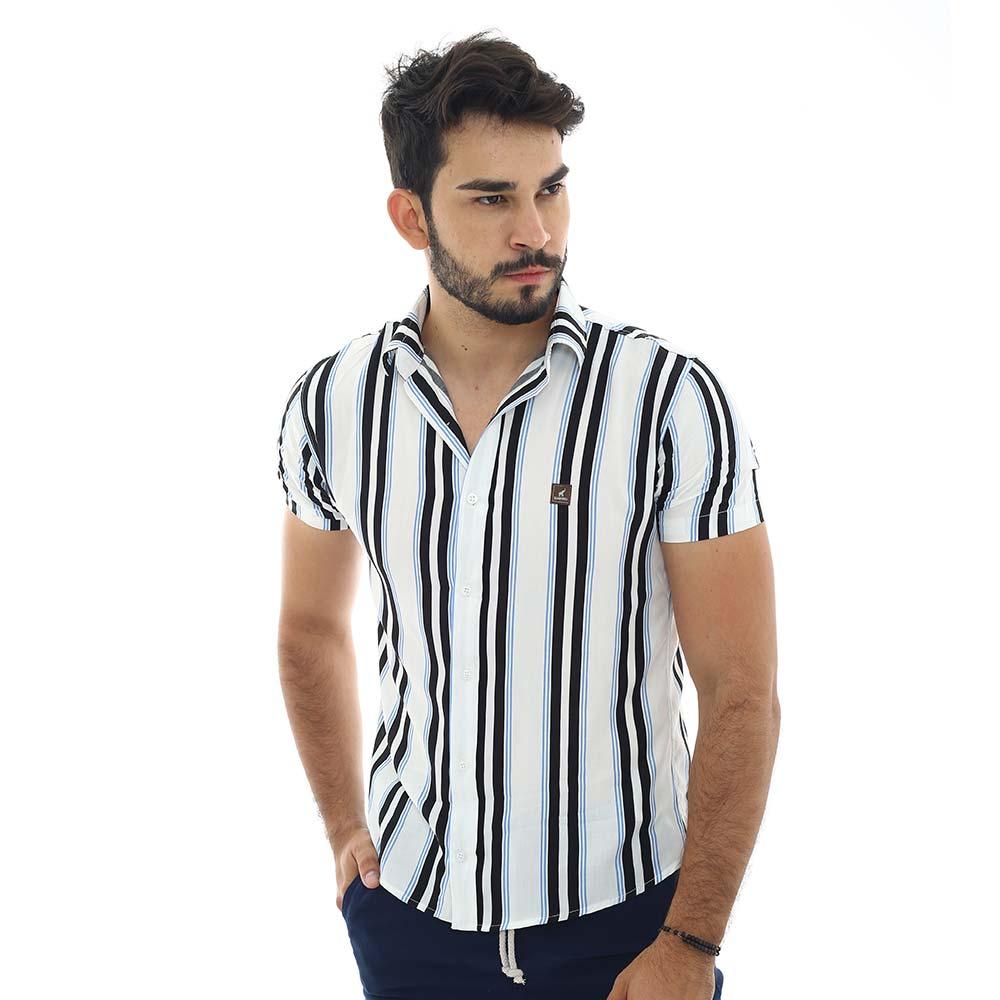 Camisa Branca Masculina Listrada Vertical Azul e Preto