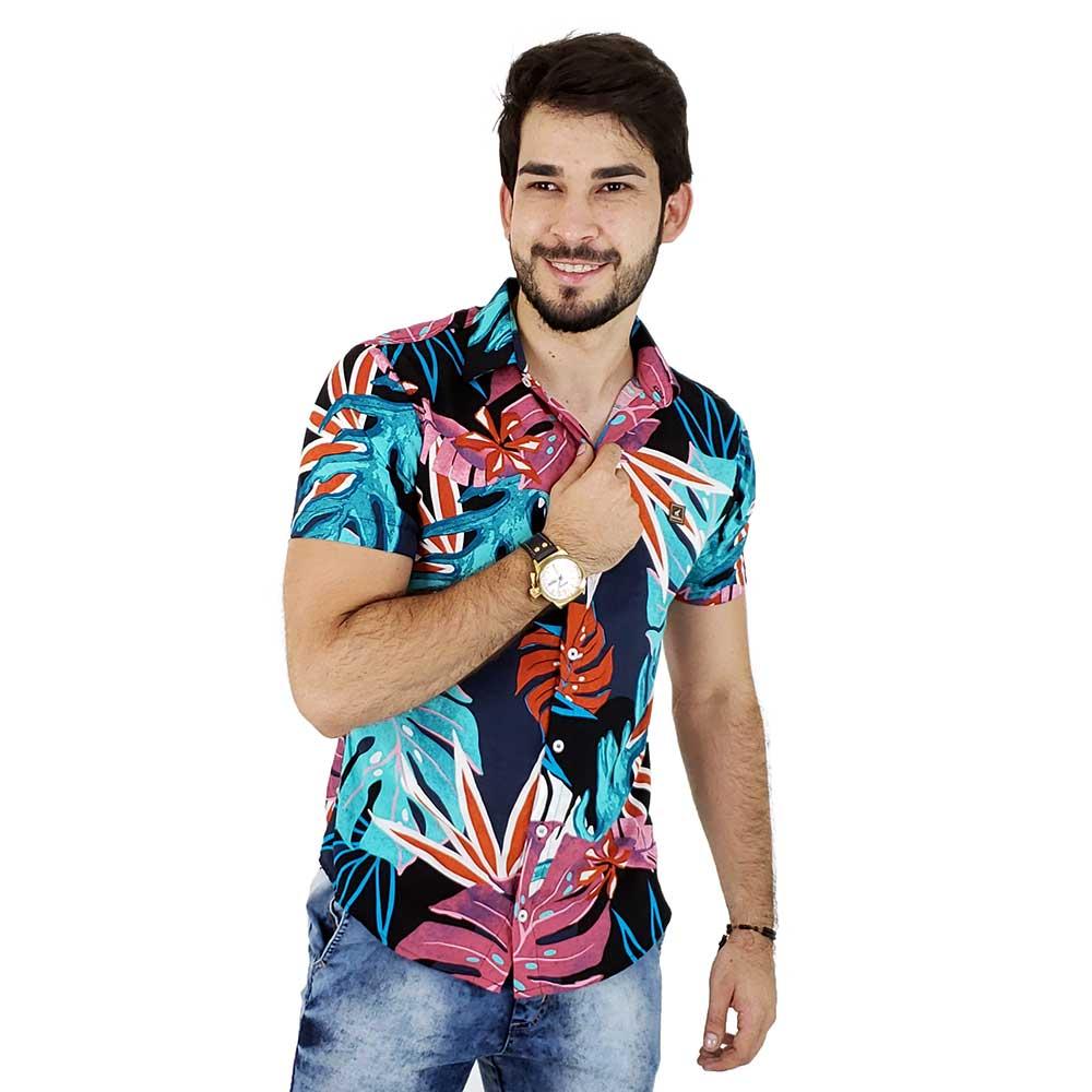 Camisa de Botão Masculina Com Estampa Floral Colorida
