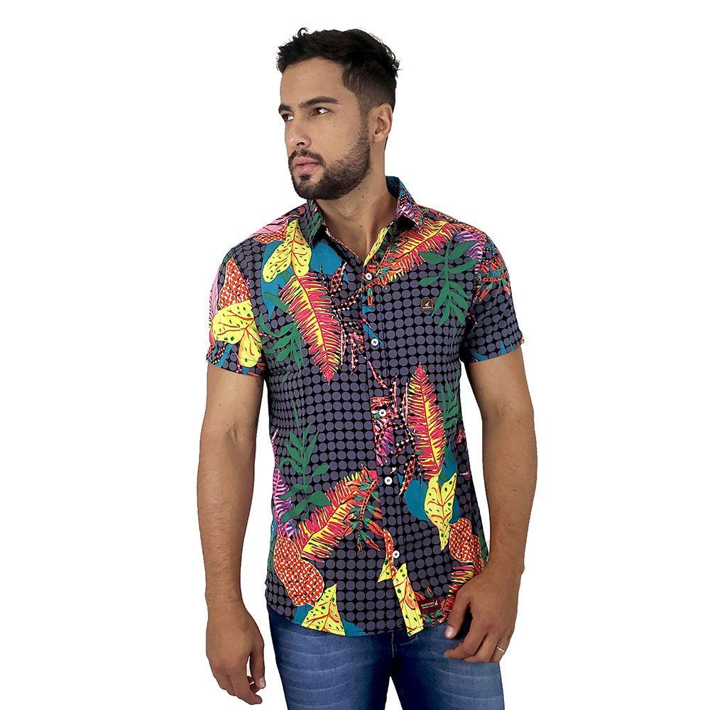 Camisa de Botão Masculina Com Estampa Florida Bamborra