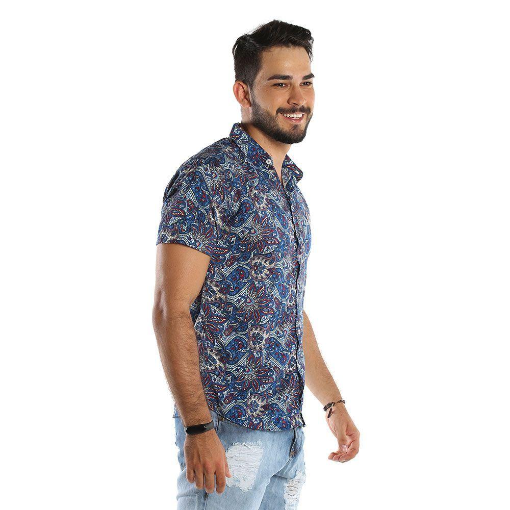 Camisa de botão Masculina Com Estampa Indiana