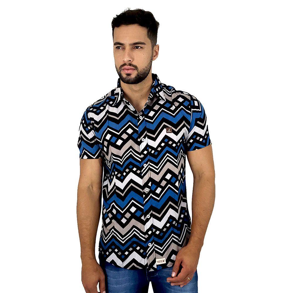 Camisa de Botão Masculina Estampa Geométrica Bamborra