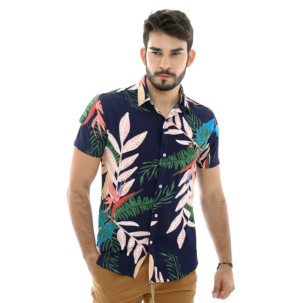 Camisa Estampada Com Folhagem Masculina Azul Marinho