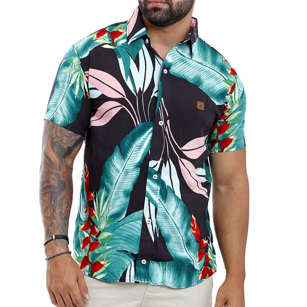 Camisa Estampada Floral Masculina Moda Praia Verão