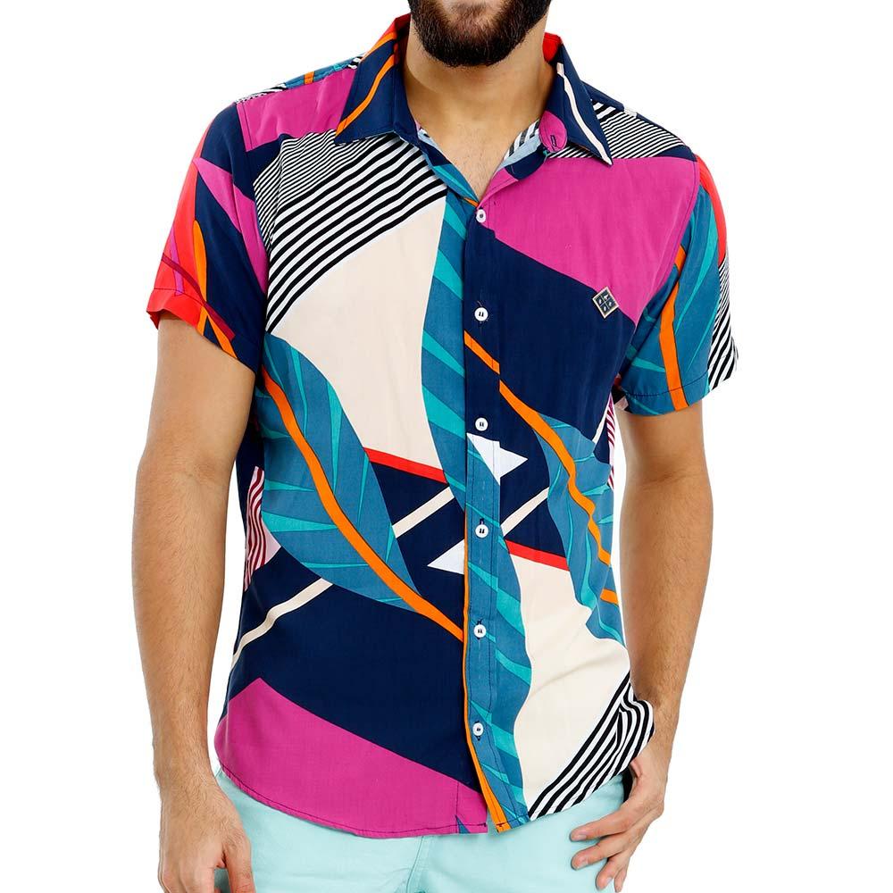 Camisa Estampada Florida Masculina Viscose Azul e Rosa